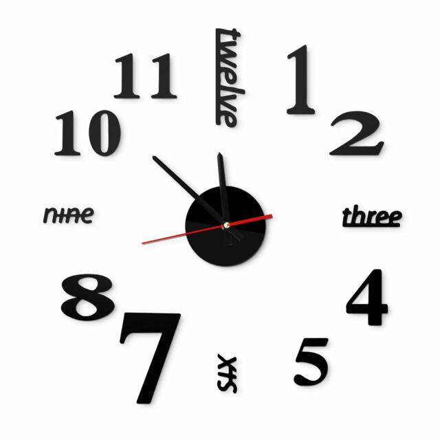 Wall Clock Large A177 3D Wall Clock for Living Room Wall Tattoo Tattoo XL XXL 80-120cm