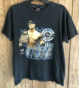 John-Cena-Men-s-Medium-Tshirt-Black-Short-Sleeve-2007-WWE-Wrestling-Belt-Cotton
