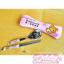 San-X Rilakkuma 304 Stainless Steel Tableware Spoon Chopsticks Utensils Set Pink