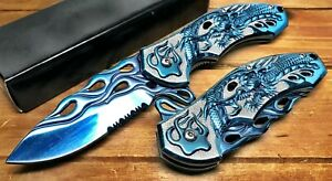 """8"""" Pocket Knife Spring Assisted Dragon Ball Fiery Hunting Tactical Folding BLUE"""