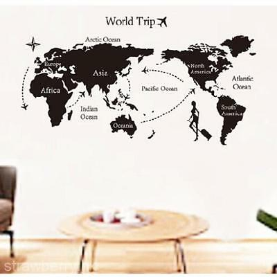 PVC Removable World Map Wall Sticker Living Room Decor Decal Vinyl Art Mural