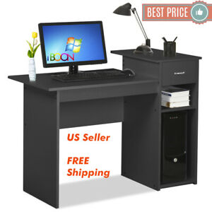 Details about Small Computer Desk PC Laptop Table Wood With Drawer Office  Workstation Black