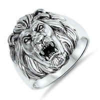 Men's Lion S Head - King Of The Jungle Sterling Silver Biker Ring - Sizes 8 -13
