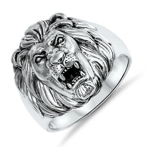Men-039-s-Lion-s-Head-King-of-the-Jungle-Sterling-Silver-Biker-Ring-Sizes-8-13
