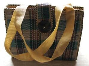 Ladies-Women-Jute-Weave-Handbag-Green-Red-Square-S