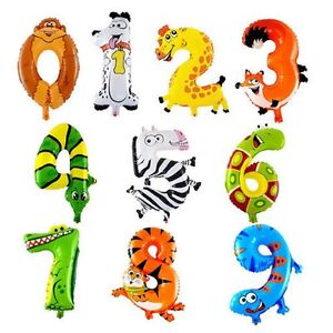 1 x Animal Number Balloon 1 6 Zoo Birthday Party Decorations