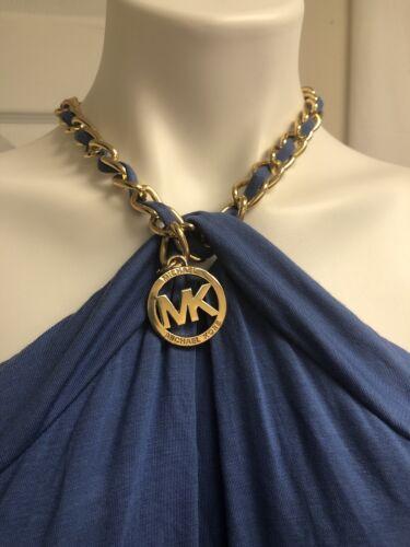 Michael Kors Blouse ShirtBlue Open Shoulder Cotton