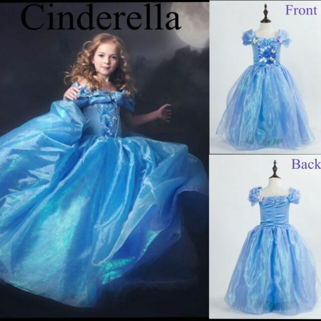 2015 Movie Girls Cinderella Gown Princess Ella Kids Cosplay Kids Costume Dresses