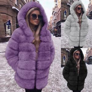 invernale a pelliccia con moda cappuccio in Soprabito maniche lunghe cappuccio sintetica caldo donna in con pelliccia pYqxxdgn