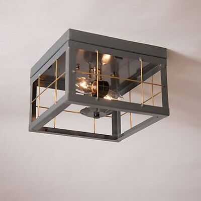 Irvin S Tinware Double Ceiling Light Br Bars Primitive Country Lighting New Ebay