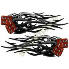 Right & Left Tribal Decal Tank Fender Helmet Flaming Dice Vinyl Flames Stickers