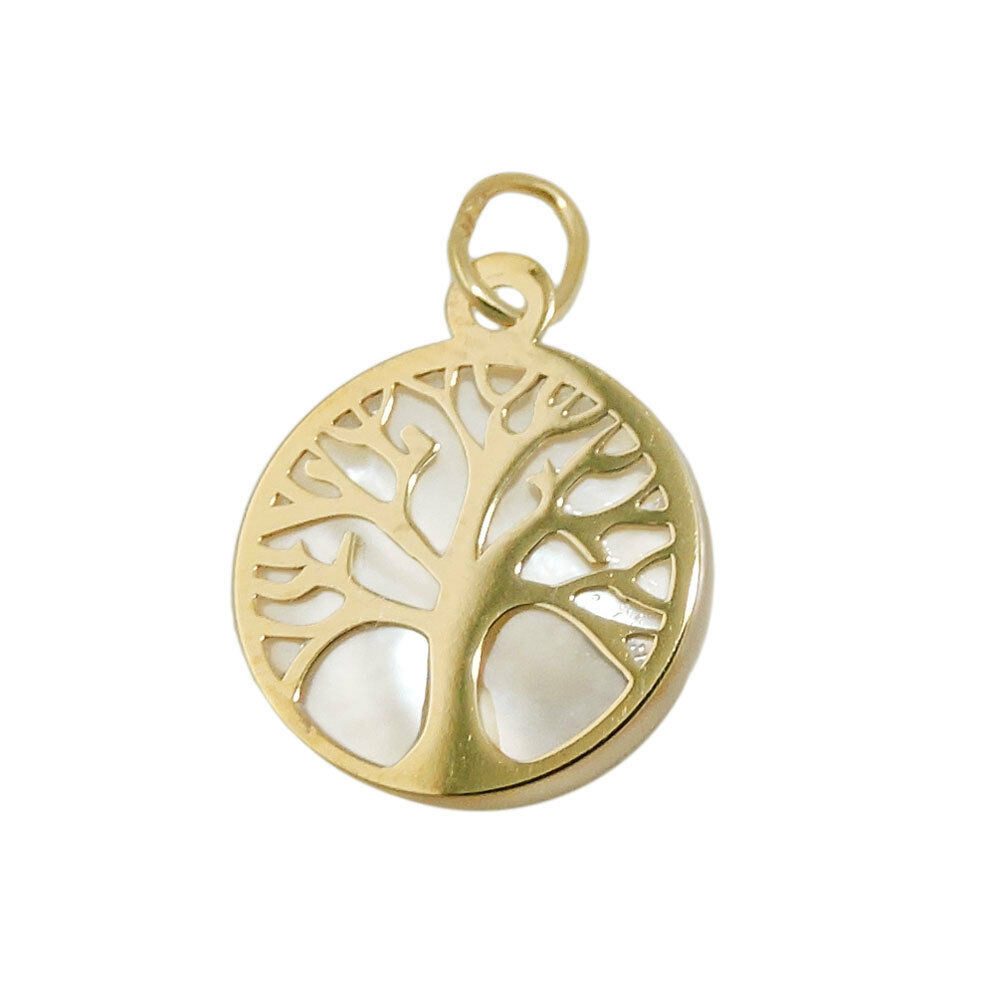 Pendant, 12mm Tree of Life Tree of Life with Pearl, 375 gold Yellow gold, Ladies