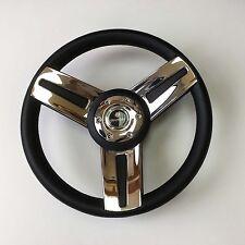 New OEM Gussi Boat Steering Wheel M14 Black Urethane Rim Stainless Steel Spoke