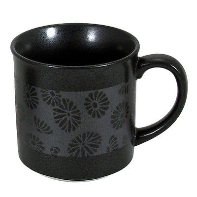 "Japanese Ceramic 3.5""H Black Ginsai-Kiku Chrysanthemum Tea Coffee Mug Cup"