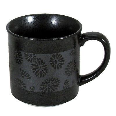 """Japanese Ceramic 3.5""""H Black Ginsai-Kiku Chrysanthemum Tea Coffee Mug Cup"""