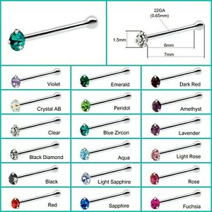 1.5mm Blue Crystal Sterling Silver Nose Stud short ball end Pin Bone Sapphire UK
