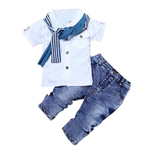 1Set Baby Boys Cotton Short Sleeve T-Shirt Tops+Scarf+Trousers Clothes Outfits