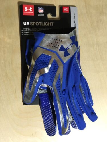 Under Armour Spotlight NFL Football Gloves Size Medium MD M Blue Silver