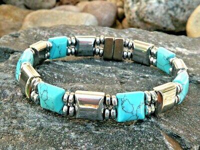 Men's Women's Western Copper Magnetic Bracelet Anklet 2 row  w Chalk Turquoise