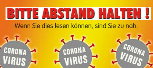 Corona Aufkleber Outdoor u.Indoor Gesundheit Sticker BITTE ABSTAND HALTEN