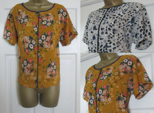 NEW M/&S Ladies Shell Blouse Top Smart Taupe Animal Print Orange Floral 6-24