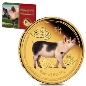 2019-1-oz-Proof-Colored-Gold-Lunar-Year-of-The-Pig-Australia-Perth-Mint-w-Box-amp