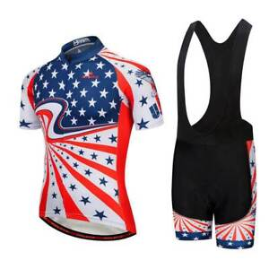USA Team Cycling Kit Men s Bike Bicycle Jersey and Padded Shorts Bib ... c472ec3e4