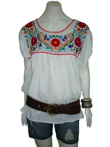 c5961757ec1d4d Image is loading WHITE-PEASANT-PUEBLA-HAND-EMBROIDERED-MEXICAN-BLOUSE-TOP-