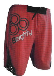 NWT - 8EIGHTY RED HURRICANE P-D880 BOARDSHORTS - STYLE 1392 650 (RED)