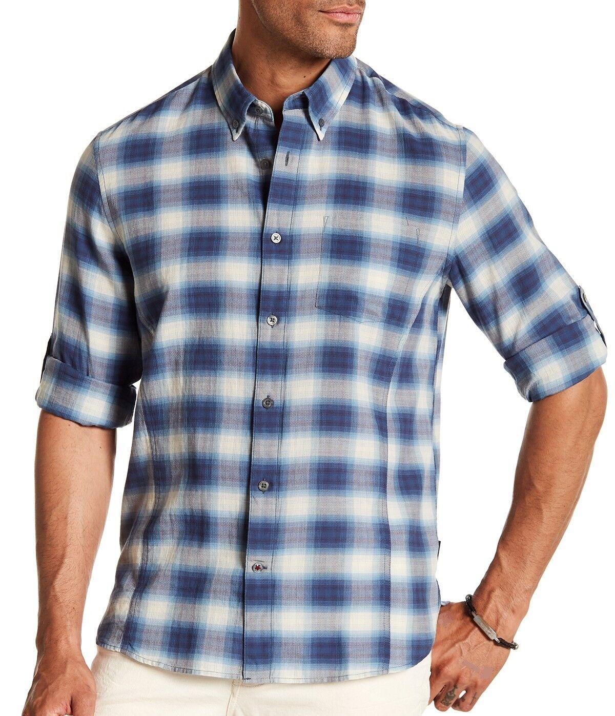 John Varvatos Star USA Men's Long Sleeve Roll-up Tab Plaid Collar Shirt Sky bluee