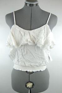 NWT White Ruffle Boho Crop Top Tank Blouse Cami Shirt Strappy XS S M L XL