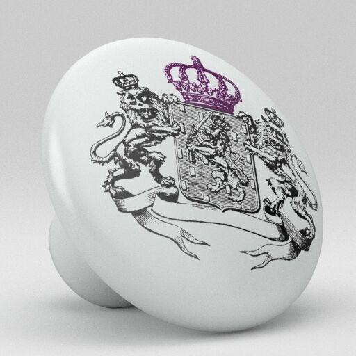 Purple Lion Crown Coat of Arms Ceramic Knobs Pulls Drawer Cabinet Vanity 875