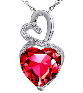 Sterling Silver 6.06 ct Created Red Ruby Heart Shaped Gemstone Pendant Necklace