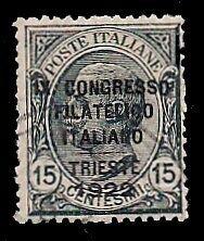 REGNO-D-039-ITALIA-1922-15-c-n-124-CONGRESSO-FILATELICO-USATO-300