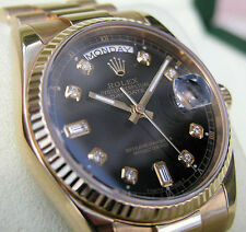 Rolex DAY-DATE President 118238 Mens 18K Yellow Gold Black Diamond Dial 36MM
