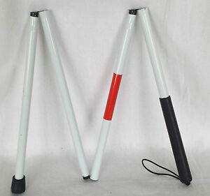 Sehbehinderte-Weiss-Blind-Spazierstock-Faltbar-Aluminium-Stock-125cm-Lang