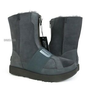 c31073f1cc7 Details about UGG Conness Waterproof Charcoal Suede Fur Boots Womens Size  9.5 *NIB*