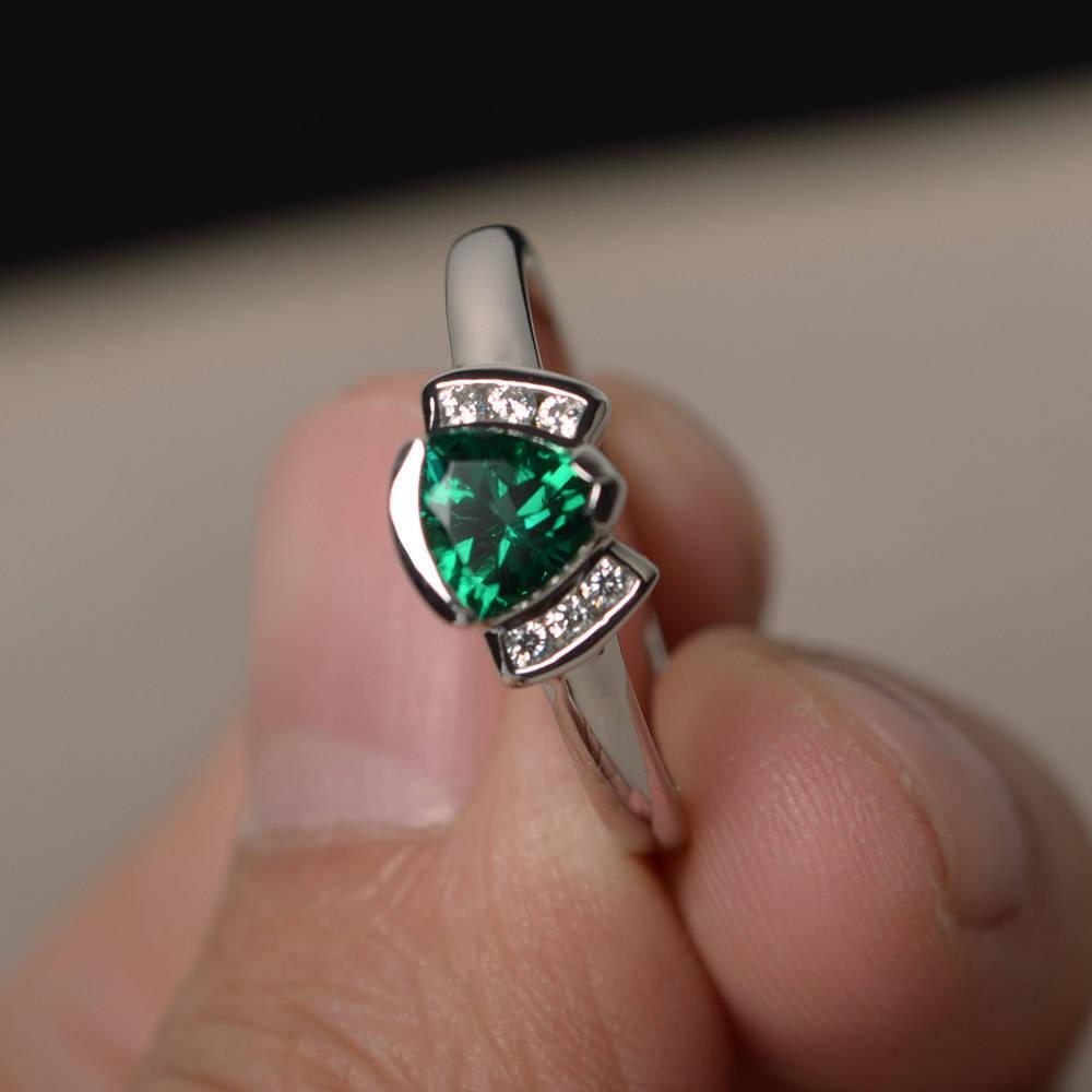 1ct Trillion Cut Green Emerald Unique Design Engagement Ring 14k White gold Over