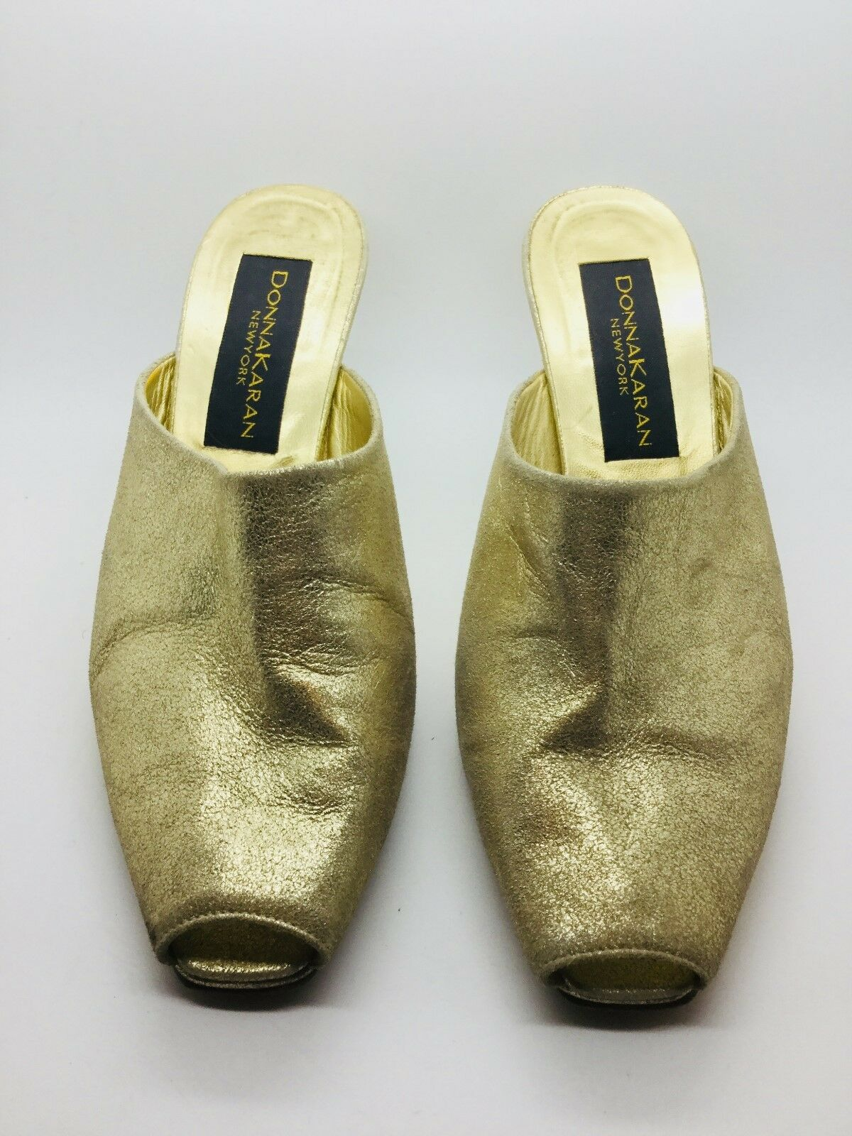 AUTHENTIC women KARAN gold Leather Peep Toe Slide Pump Heel Size 7.5