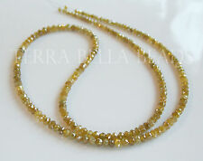 """1"""" natural genuine yellow DIAMOND faceted gem stone rondelle beads 2.5mm"""
