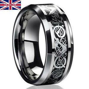 UK-Men-039-s-Silver-Celtic-Dragon-Titanium-Stainless-Steel-Wedding-Rings-Men-Rings