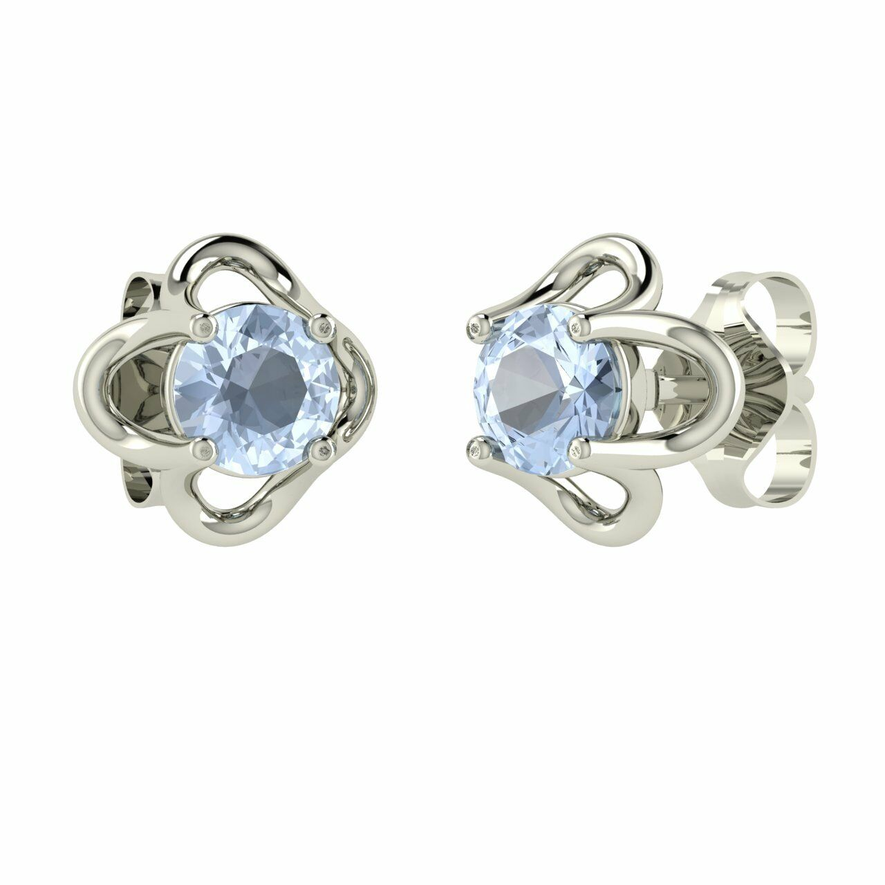 0.37 Carat Natural AAA Aquamarine Stud Earrings in 14k White gold