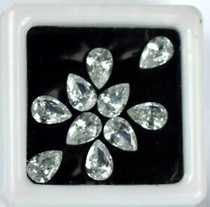 5 Carat Pear White Sapphire 6 x 4 mm Gemstone Lot 10 Pcs Natural Certified CC29