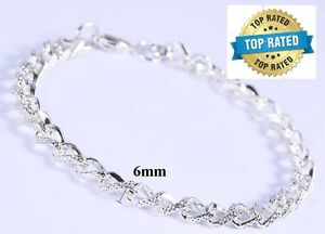 Mother-039-s-Day-925-Sterling-Silver-Linked-Chain-Women-039-s-Elegant-Bracelet-D174