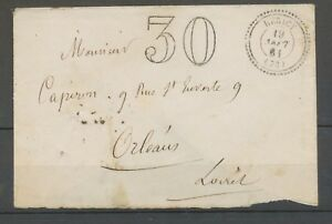 1861-Env-Taxe-30c-CAD-T22-perle-Hericy-SEINE-ET-MARNE-TB-X3334