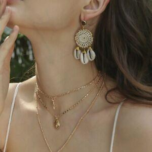 Bohemian-Vintage-Handmade-Shell-Tassel-Summer-Beach-Beautiful-Earrings-Hot
