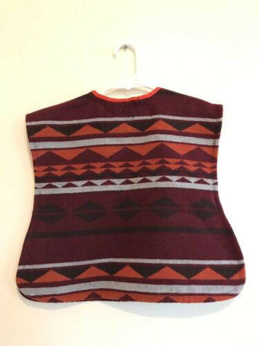 Old Navy Aztec Poncho Sweater Vest Maroon Orange Toddler Girl Size 2T 3T nwt