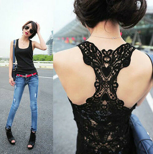 Sexy Women's Lace FlowerTank Top Cami Sleeveless Casual Cotton T-Shirt
