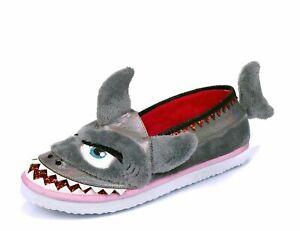 Irregular-Choice-039-i-Chews-You-039-A-Grey-Flat-Shark-Slippers