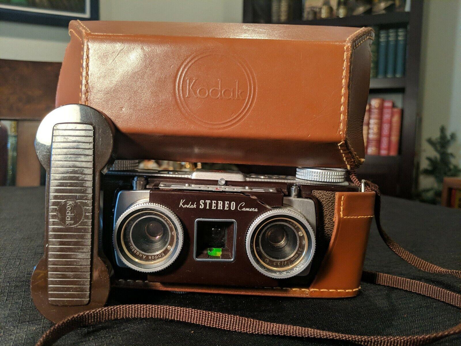 Kodak Stereo Camera 3d Anaston 35mm Leather Field Case Vintage Mid Century Ebay